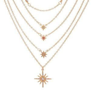 Multi-Layer Stars Necklace with Star Pendant